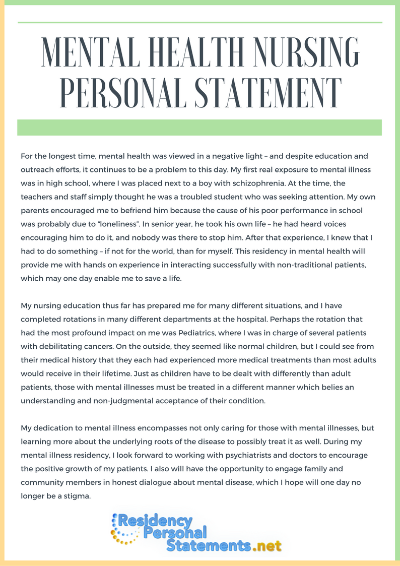 personal statement for mental health nursing job Nursing job applications firstly if you are applying to nursing jobs then these often require a personal statement as part of up to senior health sector.