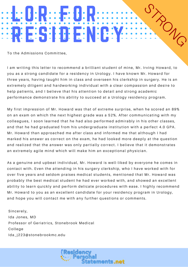 sample letter of recommendation for residency