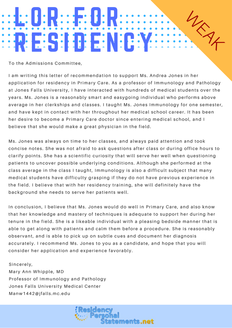 Sample Letter of Recommendation for Residency 2019/2020