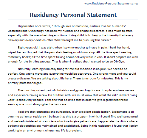 Medical residency personal statement
