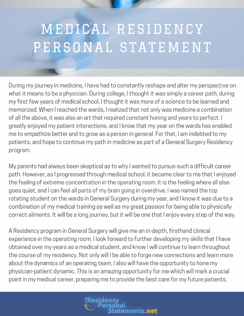 medical residency personal statement sample