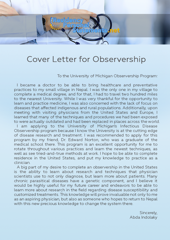 Effective Cover Letter For Observership Writing