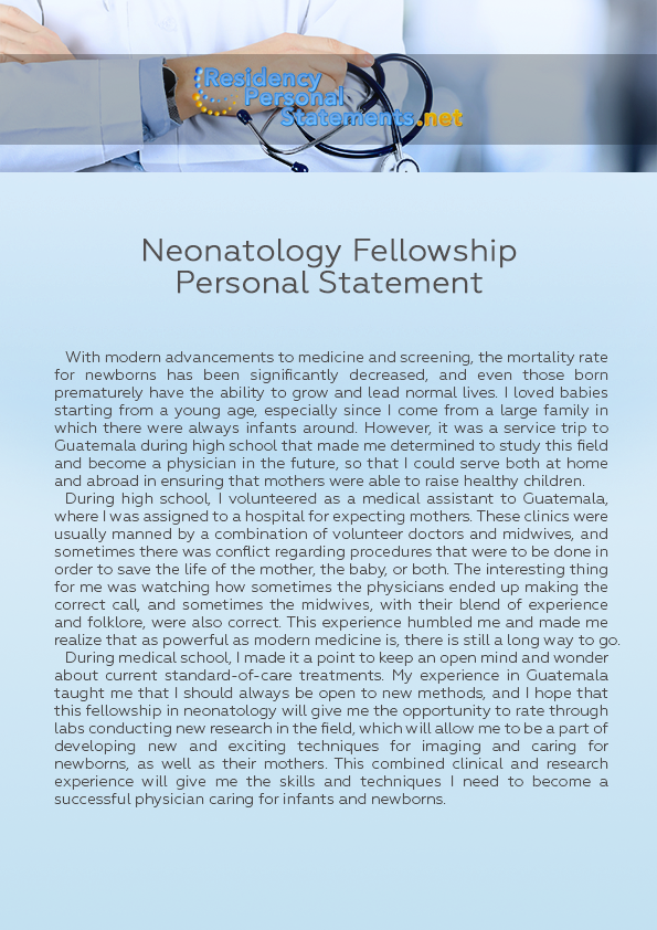 Neonatology Fellowship Personal Statement Sample