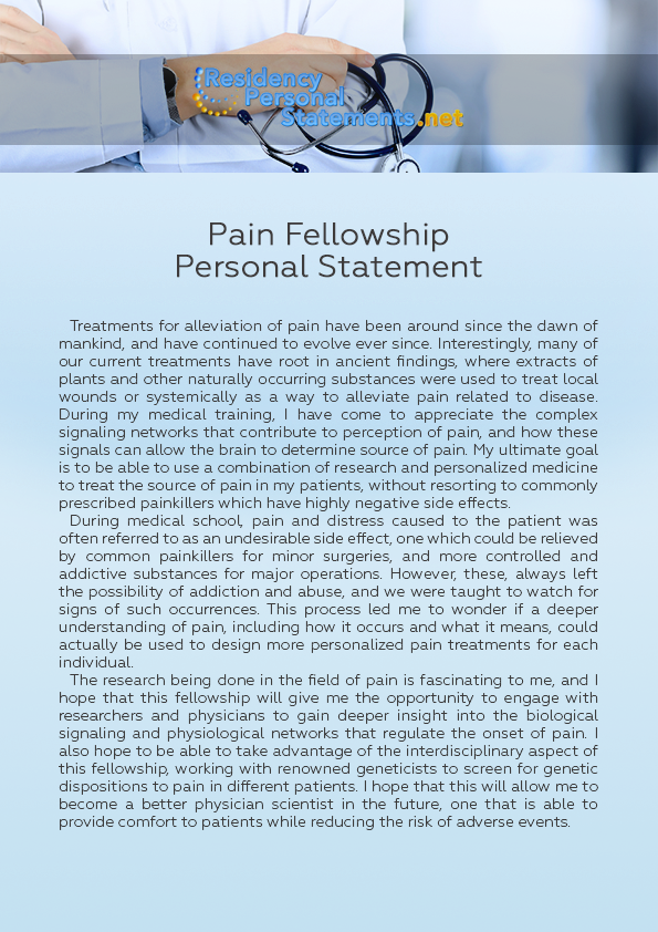 Pain Fellowship Personal Statement Sample