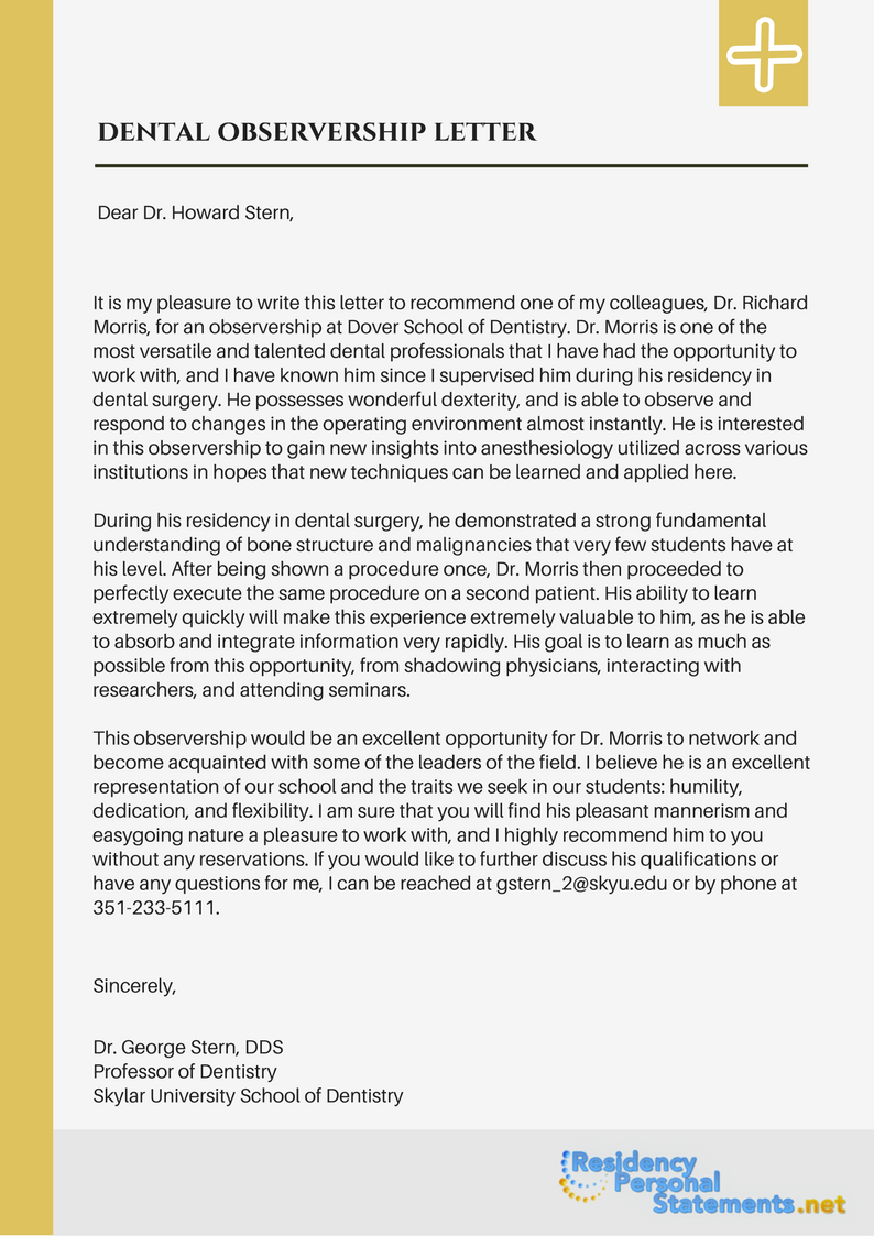 letter of recommendation after observership