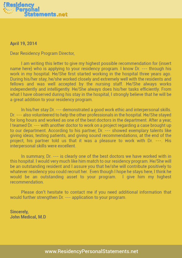 Letter Of Recommendation For Residency Template