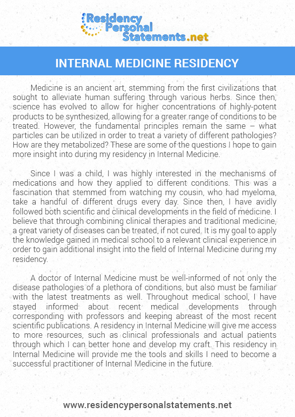internal medicine residency essays In defense of the personal statement as the director of an internal medicine  residency pro- gram, i read hundreds of personal statements every year i know.