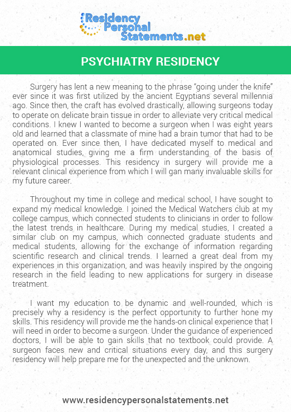 Personal statement residency program