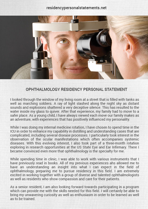 ophthalmology residency personal statement