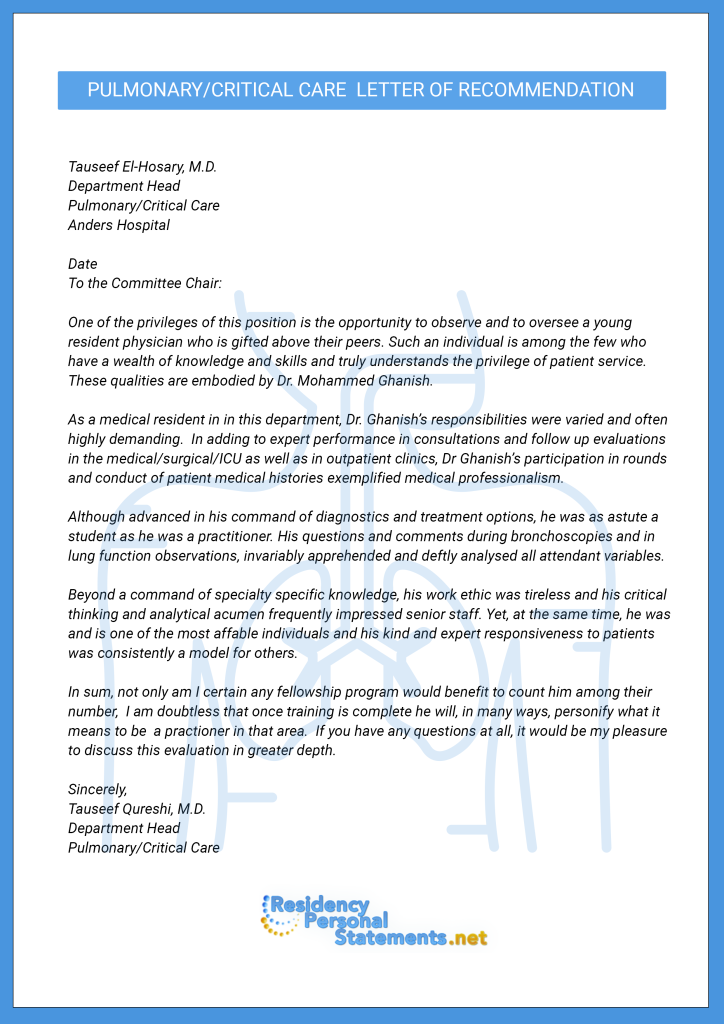 letter of recommendation for medical fellowship