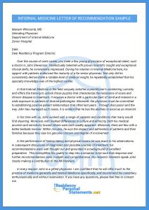internal medicine letter of recomendation