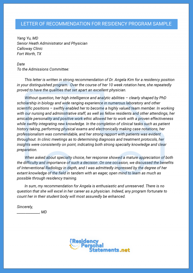 Letter of recommendation for medical residency best sample letter of recommendation for medical residency and personal statement spiritdancerdesigns Gallery