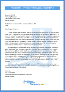 psychiatry letter of recomendation
