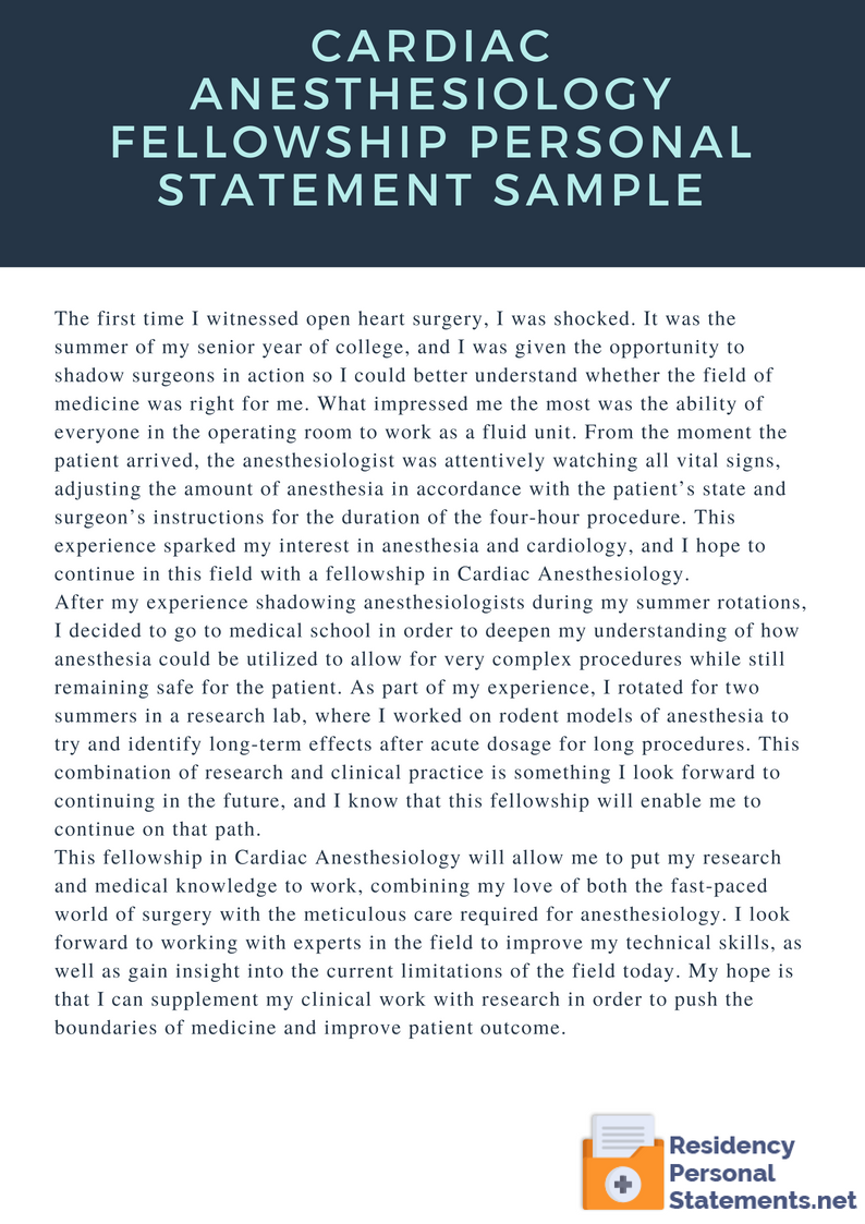cardiac anesthesiology fellowship personal statement sample