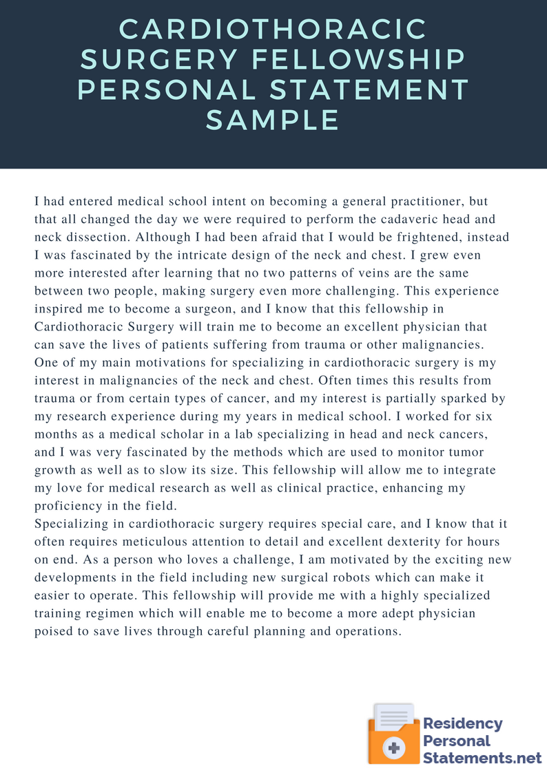 cardiothoracic surgery fellowship personal statement sample