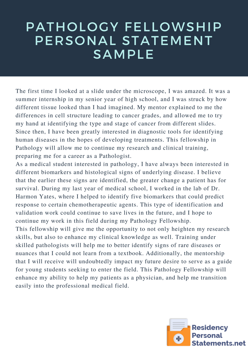 pathology fellowship personal statement sample