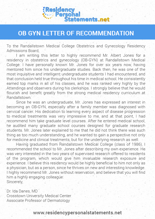 Ob Gyn Letter of Recommendation Sample
