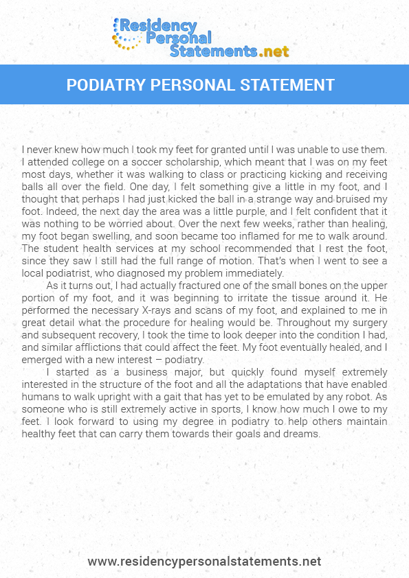 podiatry personal statement sample