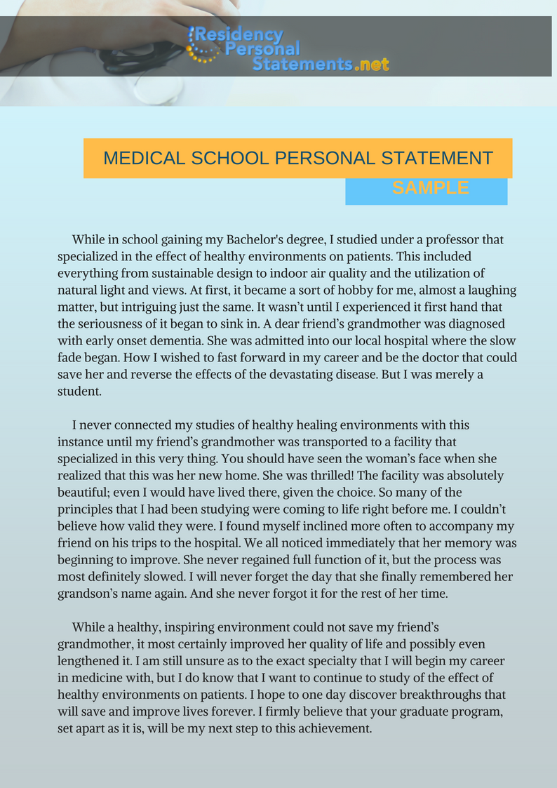 medical school personal statement sample
