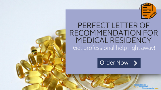 order a sample letter of recommendation for medical residency
